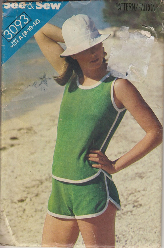 70s Ringer Tank Top and Running Shorts Sewing Pattern Athletic ...