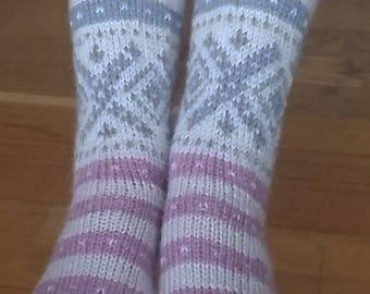 Warm wool socks in rose / purple colours