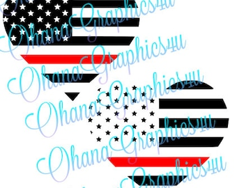 American Flag Heart Shaped Firefighter Red Line SVG