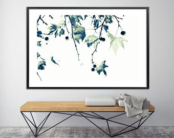 "Minimalist botanical print Large art  ""Zen Tree Print"" Giclee 40X60 in black and white modern large canvas by Duealberi"