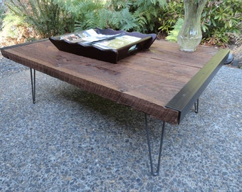 "Custom for Laura 24""x 48""x 16"" Coffee Table from old barn wood with straight steel legs"
