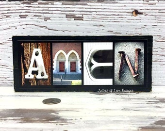 Amen Sign, Pray Sign, Christian Gifts Wall Art, Christian Home Decor, Bible Verse Wall Art, Bible Verse Sign, Pastor Gift, Wood Sign, Jesus