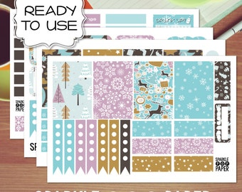 Oh Snow Cute! Christmas Weekly Layout Stickers for MAMBI Happy Planner