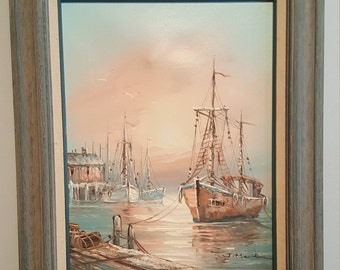 J. Martin Oil on Canvas Seascape Awesome
