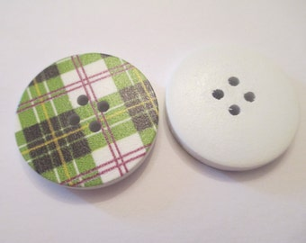 5 Green Plaid Wooden Buttons Sewing Craft Supplies