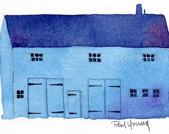 Blue Carriage House-Print from an original watercolor painting