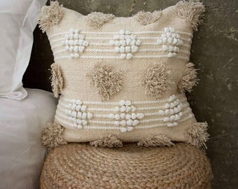 Bohemian Shag Patches Pillow in Cream - 20X20