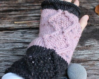Knitted Fingerless Gloves. Pink and Grey Wristwarmers. Aran Diamond Gloves. Knitted Wristwarmers. Pink Armwarmers. Two Tone Gloves.