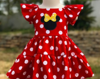 Minnie Mouse dress Made to Order - Minnie Mouse dress red with white polka dots - Minnie Mouse toddler dress - Minnie Mouse girls dress