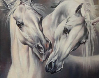 White Horses painting 11.6x11.6 inches Art Print from the Original oil Painting