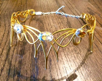 Elven Circlet - ELENTARI -  Two in One -Celtic Wire Wrapped - Choose Your Own COLORS - Crown Tiara Elvish Headband Queen of the Stars
