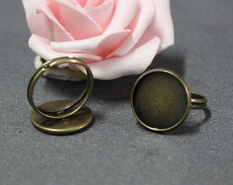 x 10 Adjustable ring blank cabochon 16 mm brass