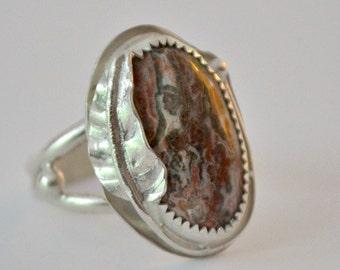 Jasper stone ring. Sterling silver ring with handmade leaf and leopardskin jasper.  Bezel set. Size 6.5