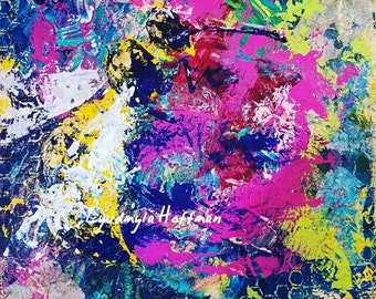 Honey bee signed print from mixed media original, 5x7, 8x10, or 11x14