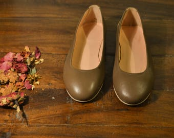 Chocolate brown Leather Ballet Flats - ballerina pumps- ballerina flats- ballerina shoes- ballet slippers- ballet shoes