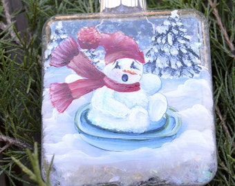 Sledding Snowman, Hand Painted Christmas Ornament, Personalized ornament