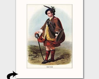 "MacNab Family Art Print w/Mat (Clan Chief Art, Pistol, Sword & Shield, Scottish Gift for Men) Matted Scotland Art --- ""Clan MacNab"" No. 150"