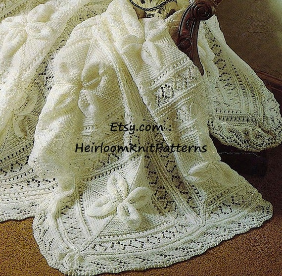 Heirloom Baby Shawl And Cot Blanket Dk Knitting Pattern Baby Boy