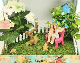 In the Garden Boxed Fairy Garden, Fairy Garden in a Box, Fairy Garden Gift, Handmade Gift by Jennifer