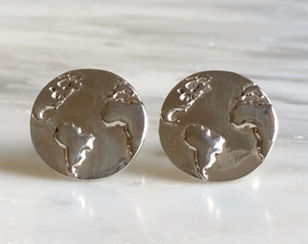 Sterling Silver World Cuff Links, Globe Cufflinks, Earth Cufflinks, Gift for Travelers, Gap Year Gift, Globetrotter Gift, Gift for Boyfriend