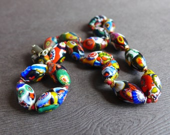 Vintage Italian Millefiori Mosaic Glass Bead Necklace, 18 inch Murano Glass bead Necklace, 1950s-1960s Glass Art Bead Necklace