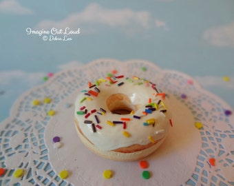 Fake Donut Doughnut Glazed Vanilla Frosting with Rainbow Sprinkles