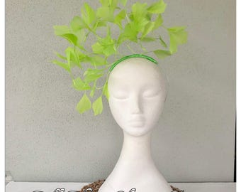 Ladies lime green feather headband fascinator