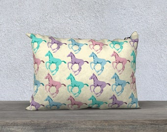 Pretty Prancing Pony Foals Decor Pillow Cover 20x14, equestrian mom, equestrian child, horse lovers child, baby decor, horse decor, horses