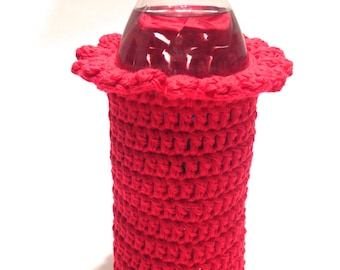 Red Crocheted 16.9 Ounce Water Bottle Cover