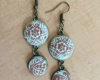Hand Made Terra Cotta Orange Clay Washed in White Faux Stone in Antiqued Brass By Brooke Baker