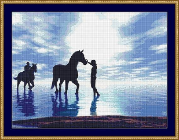 Horses Cross Stitch Pattern /Digital PDF Files /Instant downloadable