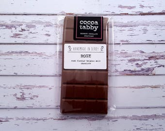 Rose - Milk Chocolate Bar. Handmade from Belgian chocolate. .