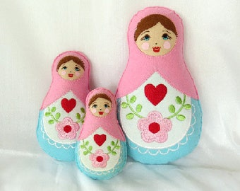 Babushka Matryoshka family softie plush felt doll pillow gift