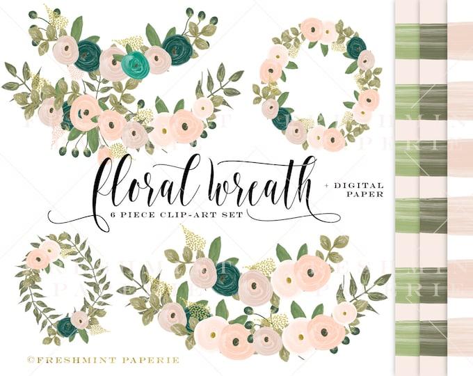 watercolor floral wreath clipart - jewel tone flowers clipart - clipart - watercolor clipart - watercolor leaf clipart - freshmint paperie
