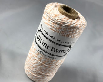 Bakers Twine - Divine Twine - 100% Cotton -  One Color - Your Choice of Color and Length - Peach Shown