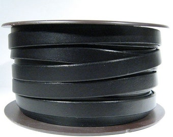 10mm Flat Leather - Black - 10F-1 - Choose Your Length