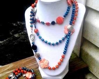 Statement Necklace, Bracelet & Earrings Set...Extra Long, Chunky, Boho, Hippie, Flapper Style... Midnight Blue, Coral and Silver Beads N120