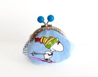 Snoopy Coin Purse, Snoopy Change Purse, Kiss Lock Coin Purse, Handmade, Gift for Her, Ready to Ship