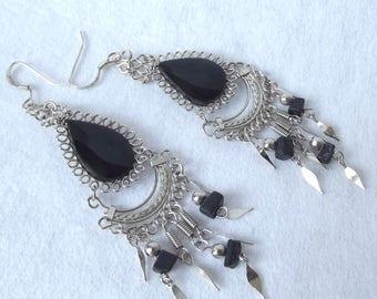 Bellydancer Earrings, Chandelier Earrings, Black, Silver, Pierced, Boho Earrings, Dangle Earrings, Natural Stone Glass, Gypsy Earrings