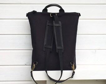 Solid Black Canvas Backpack, Black Rucksack, Backpack Men, Minimalist Backpack, Black Laptop Bag, Canvas Backpack, Gift for Men, Husband Bag