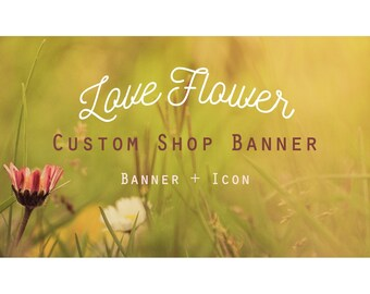 """Etsy Banner Set - Cover & Icon Shop """"Love Flower"""""""