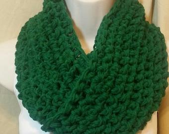 Dark Emerald Green Cotton Cowl Circle Scarf Neckwarmer
