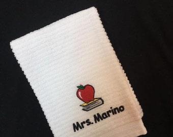 DISH TOWEL Teacher NAME with Apple