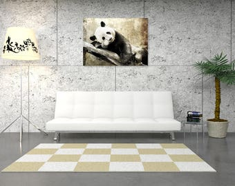 Panda wall painting, digital art painting