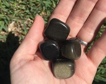 1 Golden Sheen Obsidian Medium Tumbled Stone