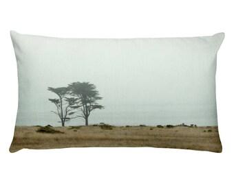 Decorative Accent Rectangle Photo Pillow Case, Home Decor, 20 x 12 in - cottage style, misty beach, foggy seaside, California Coastline, sea