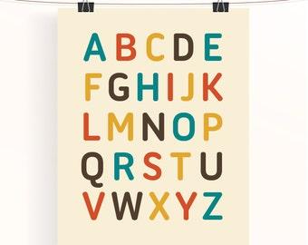 Alphabet print nursery decor, alphabet nursery print, kids room decor, kids wall art,  ABC nursery wall art, alphabet letters,
