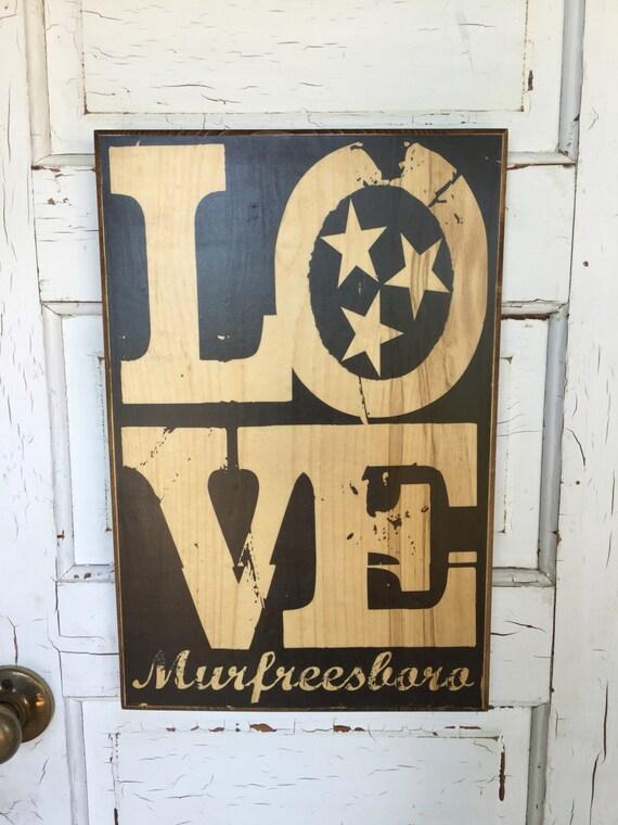 Murfreesboro Tennessee Love Print On Wood, MTSU, Murfreesboro Art Decor, Art for Guys, Love Tennessee Art Print, Nashville Art Print On Wood