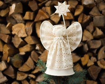 Christmas Angel Tree Topper, White Cotton Christmas Ornament, Holiday Centerpiece, Christmas Home Decor
