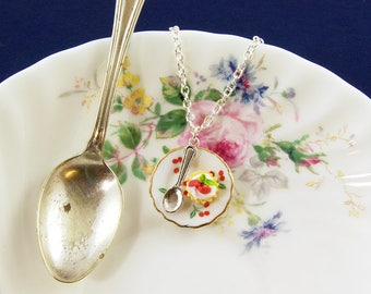 Cake on a Plate Necklace - Miniature Food Jewellery - Cake Gifts - Tea Party Favour